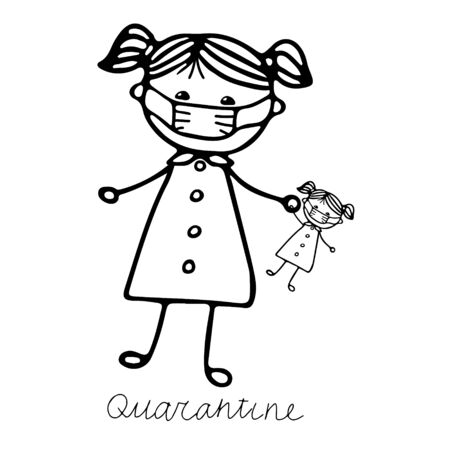 A beautiful hand-drawn vector illustration of a girl in a medical mask with a doll in mask isolated on a white background with lettering