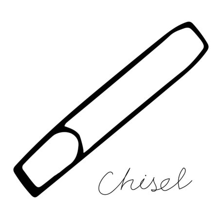 A hand-draw black vector illustration of metallic locksmith tool isolated on a white background with lettering chisel Vectores