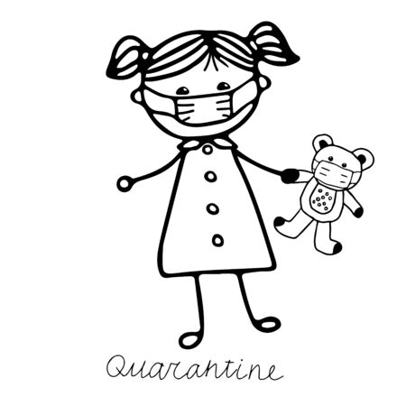 A beautiful hand-drawn vector illustration of a girl in a medical mask with a toy bear in mask isolated on a white background