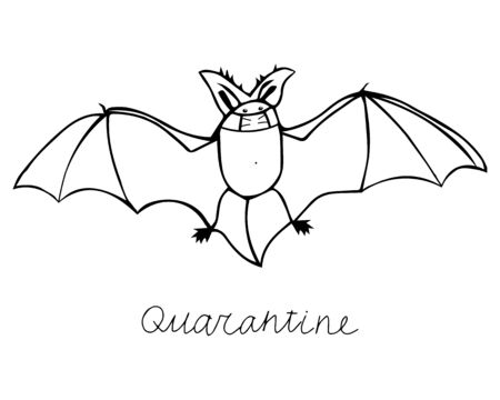 A beautiful black hand-drawn vector illustration of a bat in a medical mask isolated on a white background with lettering Quarantine for coloring book