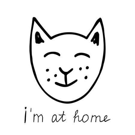 A hand drawn black vector illustration a portrait of a beautiful happy adult young cat with closed eyes with lettering I'm at home isolated on a white background