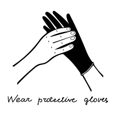 Doctor Putting on black Medical gloves on his hand on a white background with lettering Wear protective gloves Vettoriali