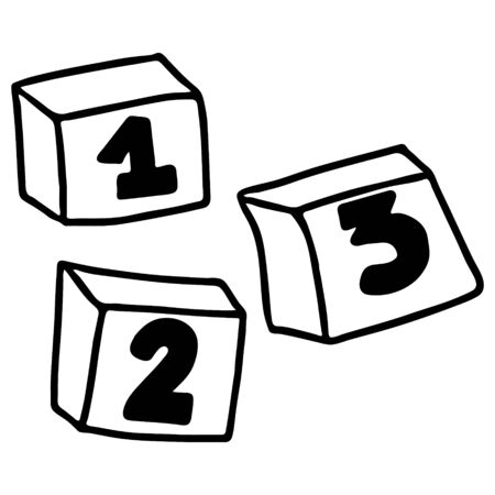 A Beautiful hand-drawn vector illustration of tree toy cubes with numbers one two isolated on a white background for coloring book for children