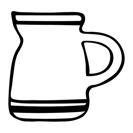 A Black hand drawing outline illustration of a clay mug or cup for cold or hot drinks isolated on a white background