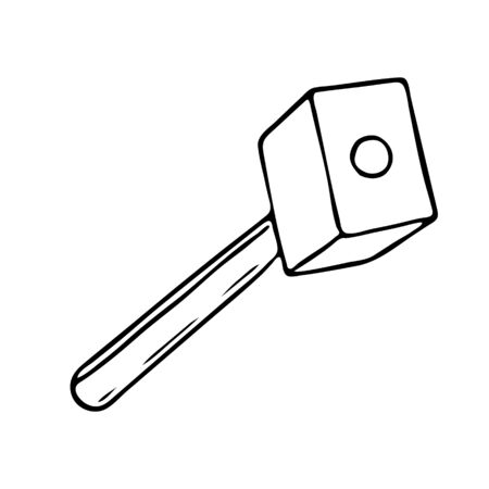 A Hand-draw black vector illustration of metallic locksmith tool sledgehammer isolated on a white background