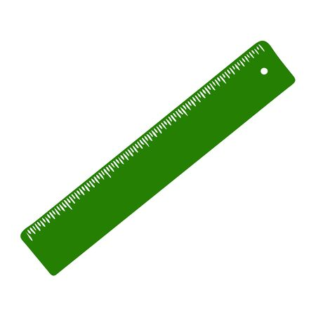 A Hand-draw green vector illustration of plastic ruler items isolated on a white background