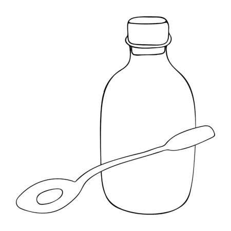 A Vector outline illustration of a black glass bottle with cork and copy space for medicine and a metal teaspoon are on a white background