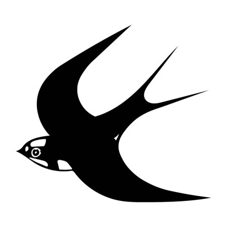 A Hand-drawn black vector illustration of one swallow bird is flying on a white background