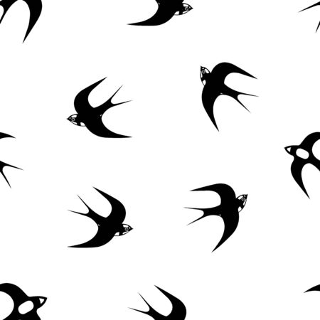 A Hand-drawn black vector seamless pattern illustration of group of swallows or martlets are flying on a white background