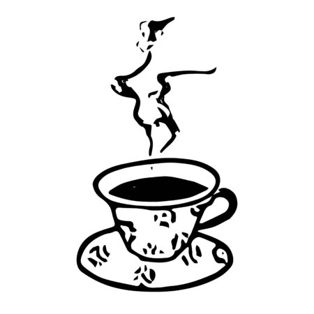 A Black hand drawing vector illustration of a cup and a saucer with hot tea or coffee isolated on a white background Ilustração