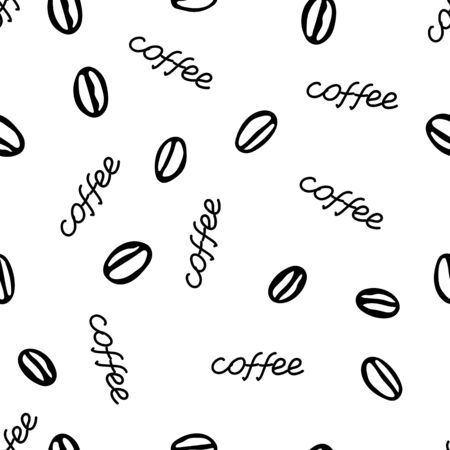 A Black hand drawing vector seamless pattern of a group of coffee beans with lettering Coffee isolated on a white background Ilustração