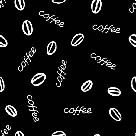 A White hand drawing vector seamless pattern of a group of coffee beans with lettering Coffee isolated on a black background