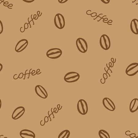 A Hand drawing vector seamless pattern of a group of coffee beans with lettering Coffee is on a brown background Ilustração