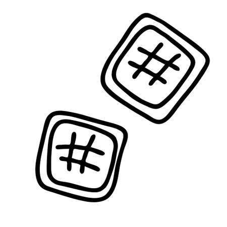 Black hand-drawn vector illustration of two square cookies isolated on a white background