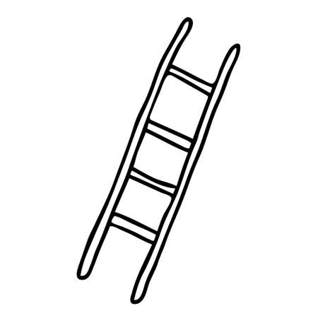A Hand-draw black vector illustration of metallic or wooden ladder isolated on a white background Ilustração