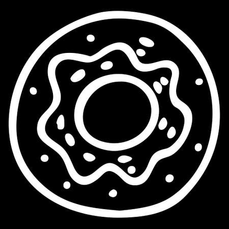 A White hand-drawn vector illustration of one round donut isolated on a black background