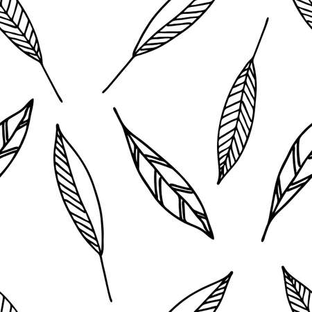 A Vector Illustration of black doodle leaves isolated on a white background, Seamless pattern