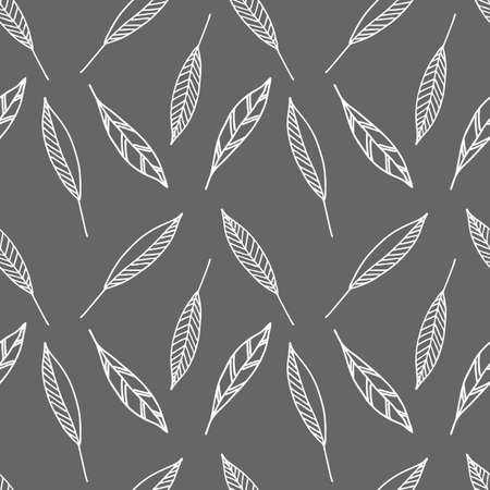 A Vector Illustration of white doodle leaves isolated on a gray background, Seamless pattern
