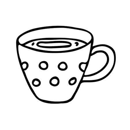 A black hand drawing illustration of a cup with hot tea isolated on a white background Ilustração