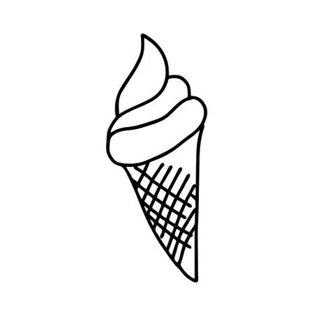 A Black hand-drawn vector illustration of One fresh cold ice cream in a waffle cone isolated on a white background Ilustração
