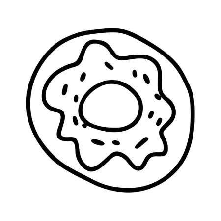A Black hand-drawn vector illustration of one round donut isolated on a white background