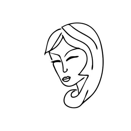 A Beautiful hand-drawn vector illustration of heads of a young sad woman with closed eyes and long hair isolated on a white background 일러스트