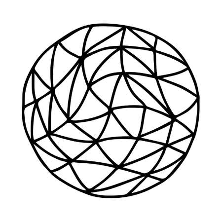 A Beautiful hand-drawn black vector illustration of one toy ball with triangular texture isolated on a white background for coloring book for children