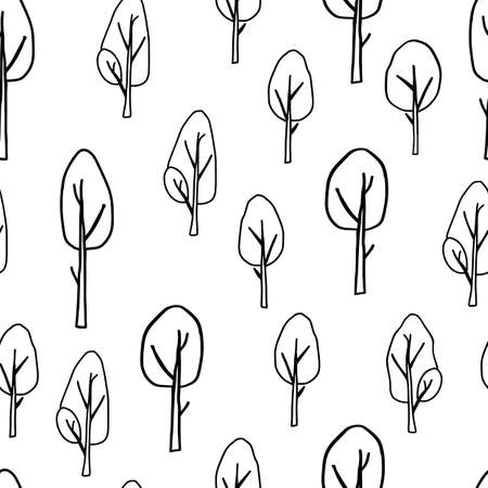 A Black outline hand drawing vector illustration of a group of deciduous trees isolated on a white background. Seamless pattern