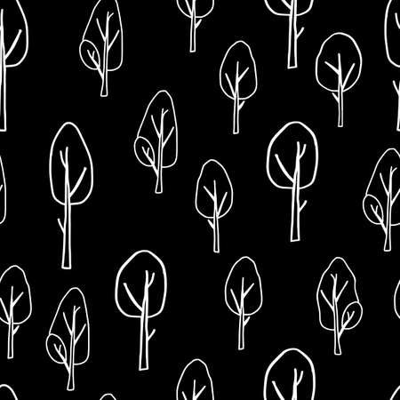 A White outline hand drawing vector illustration of a group of deciduous trees isolated on a black background. Seamless pattern