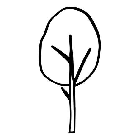 A Black outline hand drawing vector illustration of a deciduous tree isolated on a white background