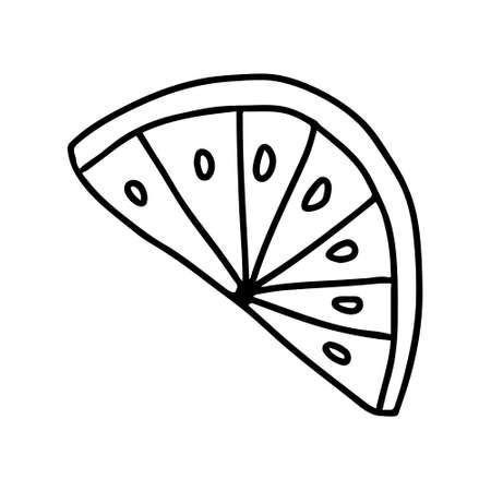 A Vector outline black illustration of one slice fresh lemon isolated on a white background Ilustrace