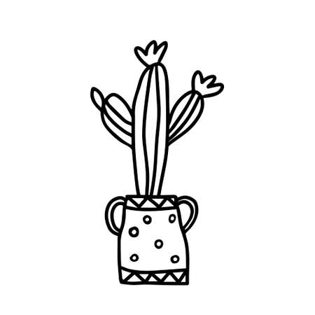 A Black outline hand drawing vector illustration of a decorative cactus cereus plant in a pot isolated on a white background Archivio Fotografico - 158324488