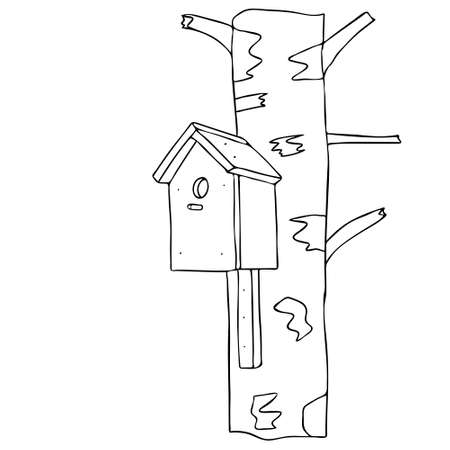 A black hand drawn outline vector illustration of A birdhouse or squirrel house from new boards is hanging on a birch tree in the forest