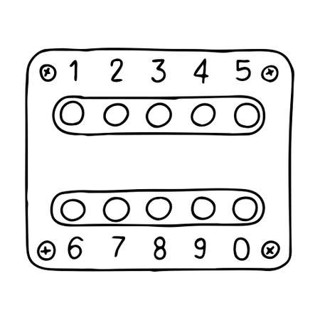 A Hand-draw black vector illustration of metallic intercom lock with ten buttons located on a metal sheet on the door Vettoriali