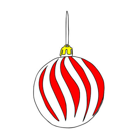 A Beautiful hand-drawn vector illustration of one toy Christmas red and white ball with texture isolated on a white background