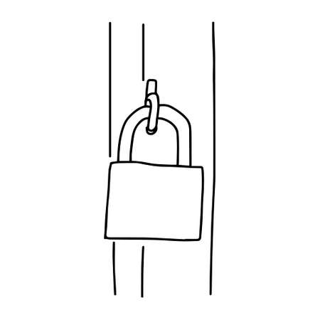 A Hand-draw black vector illustration of metallic lock located on a metal sheet on the door Vettoriali
