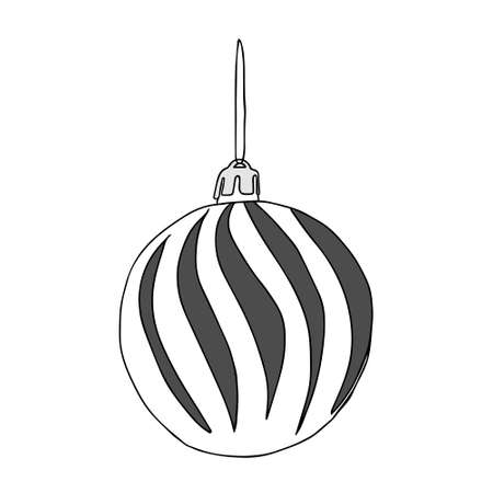 A Beautiful hand-drawn gray vector illustration of one toy Christmas ball with texture isolated on a white background for coloring book for children