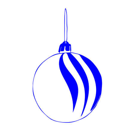 A Beautiful hand-drawn vector illustration of one toy Christmas blue and white ball with texture isolated on a white background