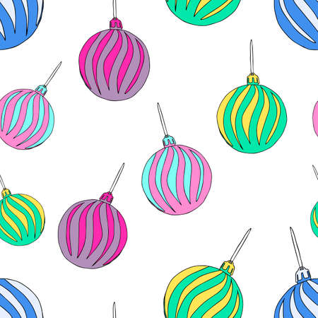 A Beautiful hand-drawn vector illustration of group of toy colored balls with texture isolated on a white background for Christmas and New Year decoration. Seamless pattern Vettoriali