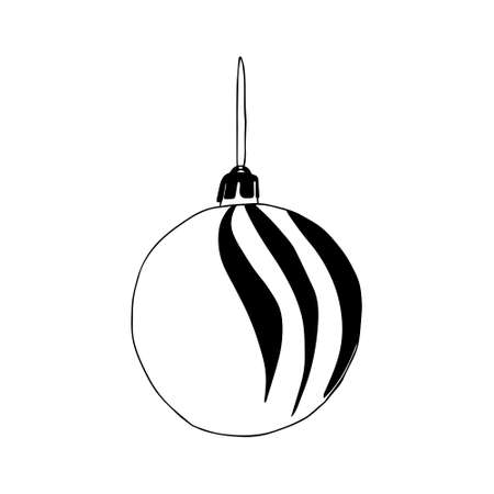A Beautiful hand-drawn black vector illustration of one toy Christmas ball with texture isolated on a white background for coloring book for children Vettoriali