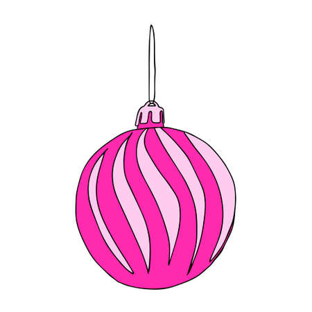 A Beautiful hand-drawn vector illustration of one toy Christmas pink and white ball with texture isolated on a white background