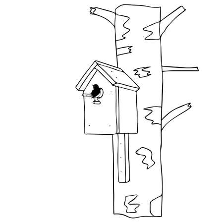 Black hand drawn outline vector illustration of bird and birdhouse is hanging on birch tree in spring in forest isolated on a white background