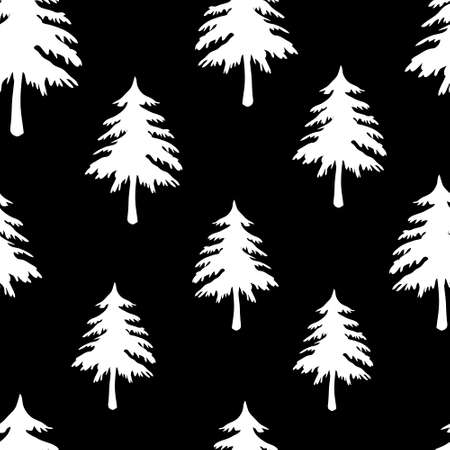 A vector seamless pattern texture of white carved Christmas fir trees on a black background