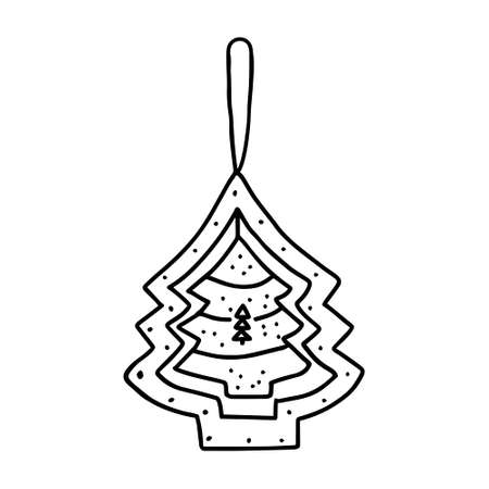 A Black outline hand drawing vector illustration of a carved Christmas fir trees isolated on a white background