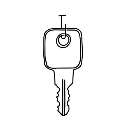 A Hand-draw black vector illustration of metallic key located on a metal hook on the door