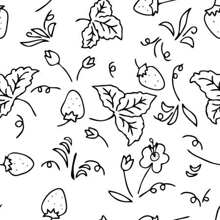 The Seamless black Vector outline pattern of strawberries and leaves and flowers isolated on a white background Vettoriali