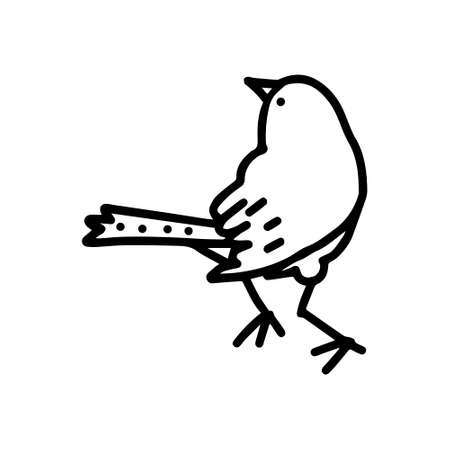 A Hand-drawn black vector illustration of one bird is sitting on a white background