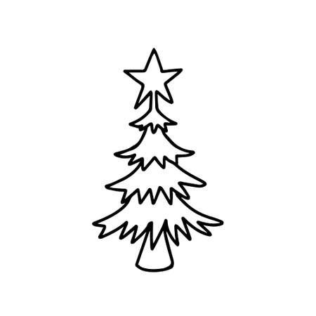 A Black outline hand drawing vector illustration of a carved Christmas fir tree isolated on a white background