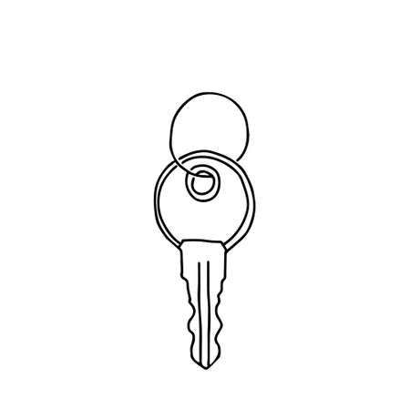A Hand-draw black vector illustration of metallic key isolated on a white background