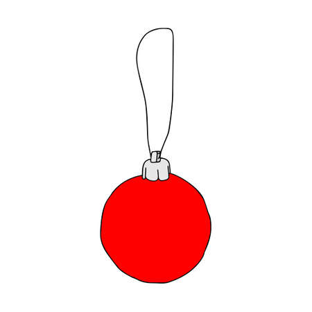A Beautiful hand-drawn red vector illustration of one toy Christmas ball isolated on a white background Vettoriali
